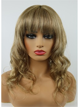 Medium Wavy Cut With Bangs Human Hair Capless Wig 16 Inches