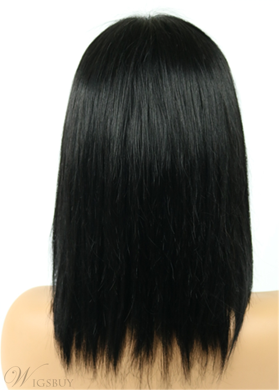 Shoulder Length Straight Hairstyle Side Swept Fringes Human Hair Full Lace Wigs 12 Inches
