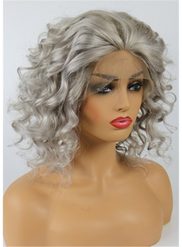 Medium Salt And Pepper Hair Curly Human Hair Lace Front Women Wigs for Older Women