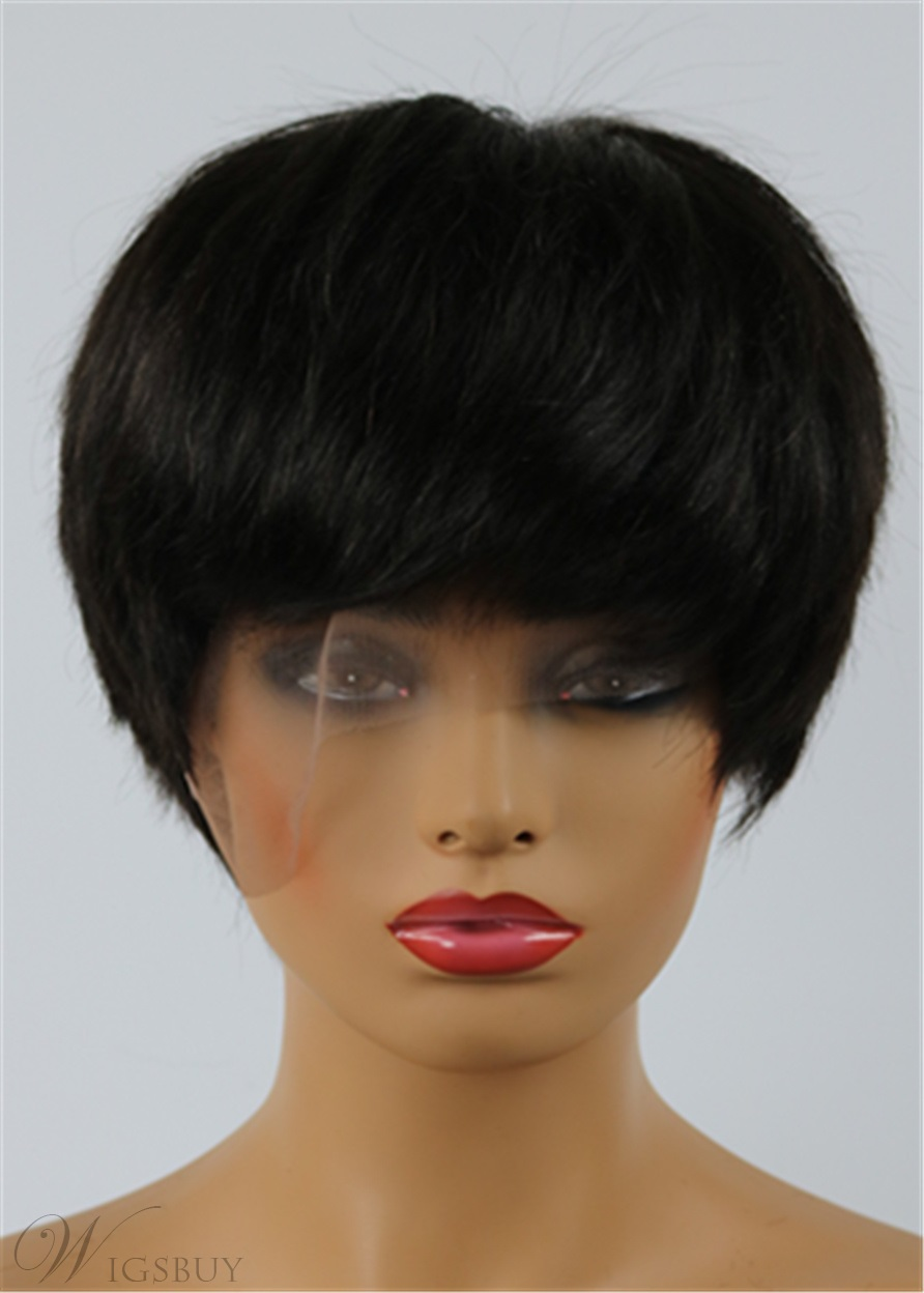 Jennifer Hudson Pixie Dark Brown Layered Celebrity Top Quality Short Natural African American Wigs Human Hair Full Lace 6 Inches