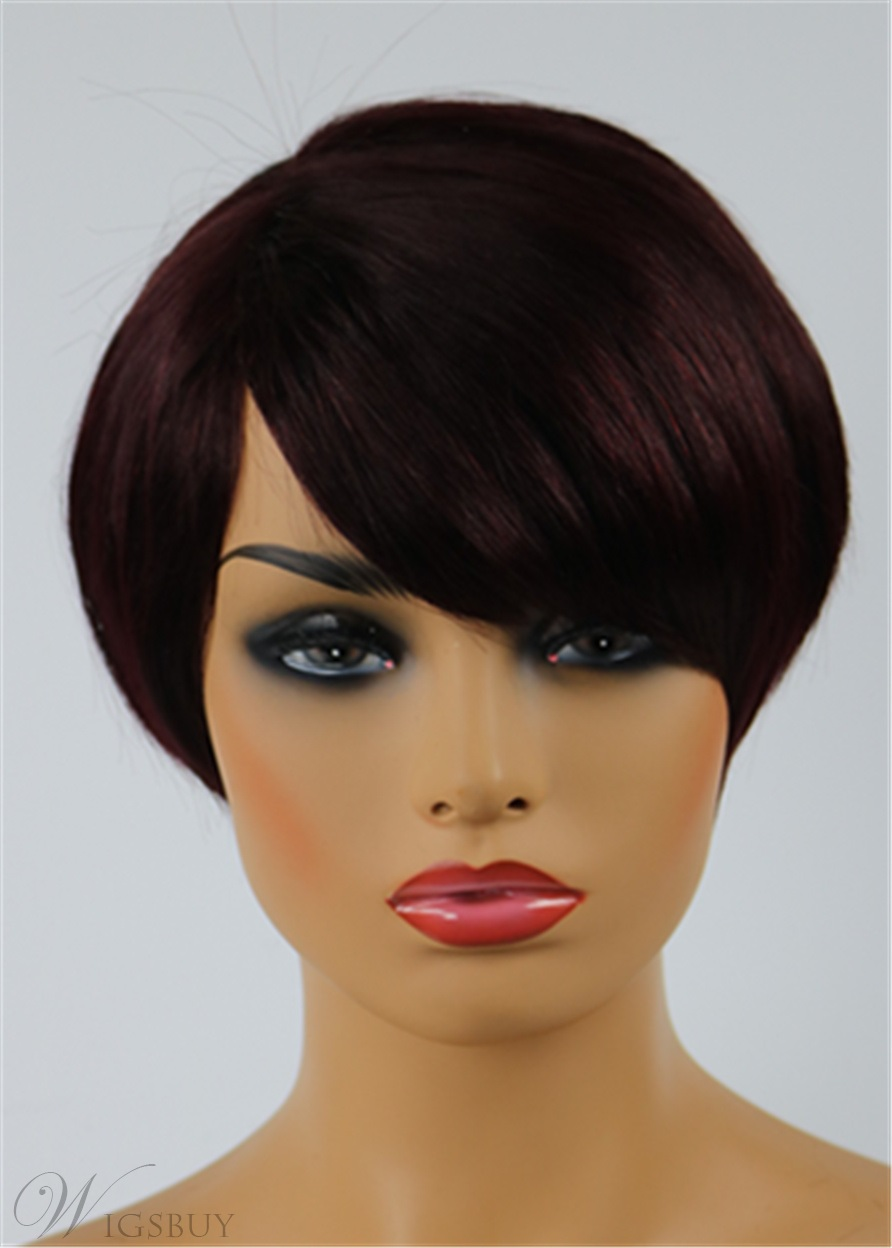 Chic Cheap Celebrity Hairstyle Short Straight Mixed Color Wig 100% Human Hair
