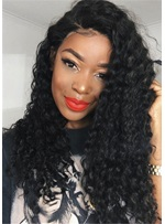 African American Long Kinky Curly Synthetic Hair Capless Wig