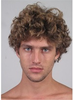 Short Curly Cut Human Hair Full Lace Men's Wig