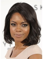 Naomie Harris Short Bob Wavy Synthetic Hair Capless wig