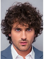 Curly Full Lace Wig Human Hair Men's Wig