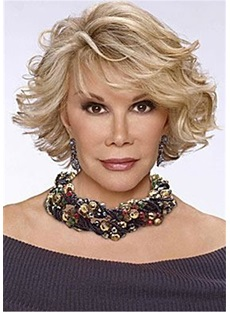 Joan Rivers Haircut Wavy Layered Human Hair Wig