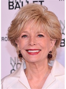 Lesley Stahl Out Layer Cut Human Hair Capless Wig
