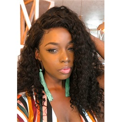 African American Shoulder Length Kinky Curly Synthetic Capless Wig