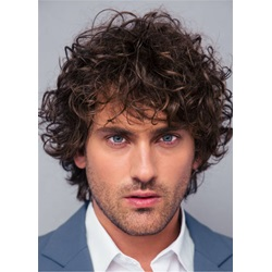 Curly Full Lace Wig Human Hair Mens Wig