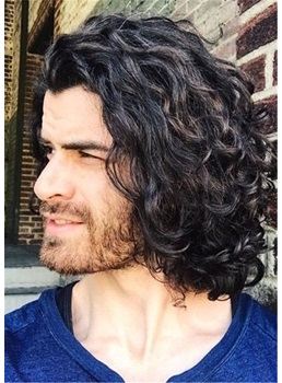 Shoulder Length Synthetic Curly Hair Men's Wig
