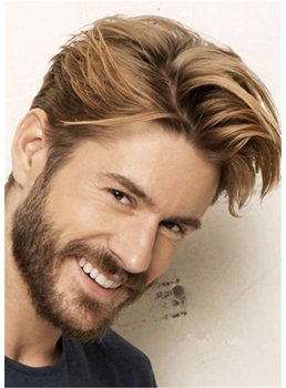 Swagger Hairstyle Human Hair Straight Full Lace Men's Wig