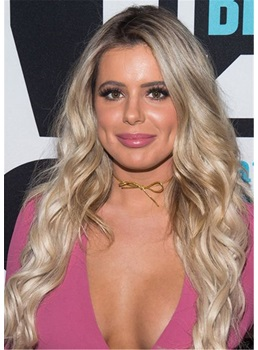 Brielle Biermann Hairstyle Big Wavy Human Hair Full Lace Wig