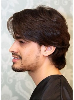 Mid Length Synthetic Straight Hair Men's Capless Wig