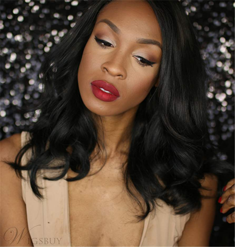 African American Slight Wave Synthetic Synthetic Hair Lace Front Wig