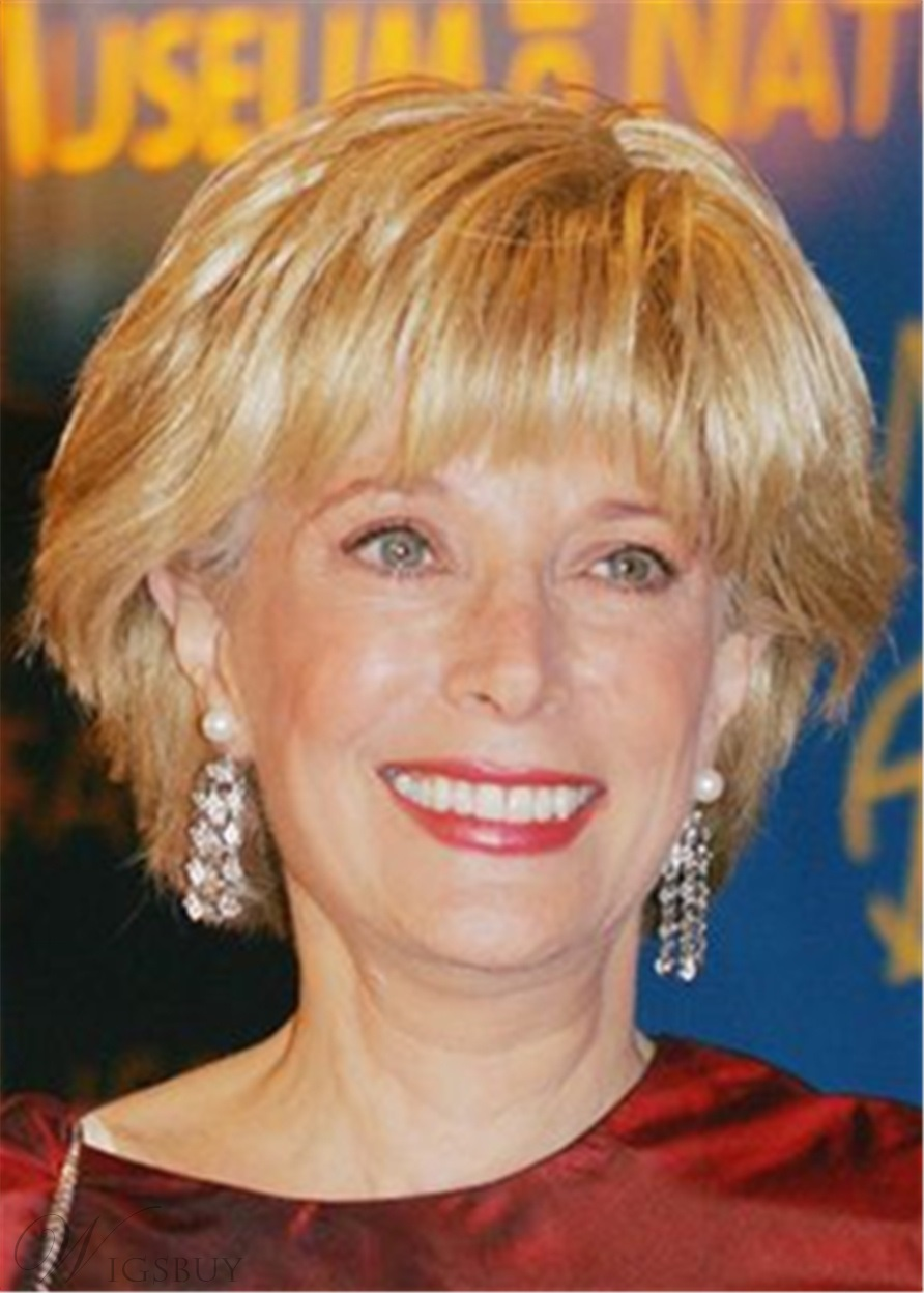 Lesley Stahl Hairstyle Synthetic Hair With Bangs Women Wig