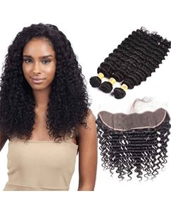 Wigsbuy 3pcs Brazilian Curly Virgin Human Hair Bundles With Lace Frontal Closure