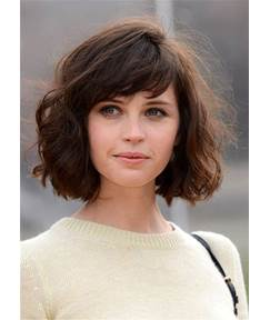 Lob Bob Blunt Cut Wave Human Hair With Bangs Capless Wigs 10 Inches