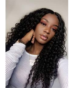 Center Part Kinky Curly Long Synthetic Hair Lace Front Cap Wigs 18 Inches