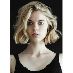 Lob One Side Part Medium Wave Synthetic Hair Lace Front Cap Wigs 14 Inches
