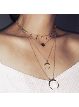 Simple Alloy Multilayer Choker Necklace