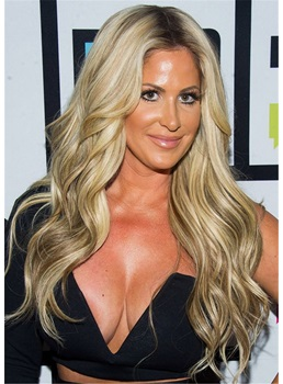 Kim Zolciak Biermann Hairstyle Human Hair Loose Wavy Capless Wig