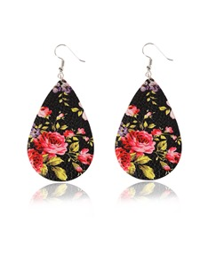 Colorful Floral Print Leather Earrings
