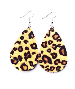 Hot Leopard Leather Pear Earrings