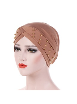 Beads Pleated Cross Muslim Turban