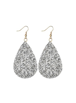 Bling Bling Sequins Water Drop Leather Earrings