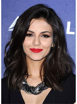 Victoria Justice Mid-Length Hairstyle Human Hair Capless Wig