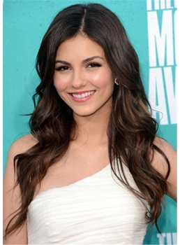 Victoria Justice Long Wavy Cut Synthetic Hair Lace Front Wig