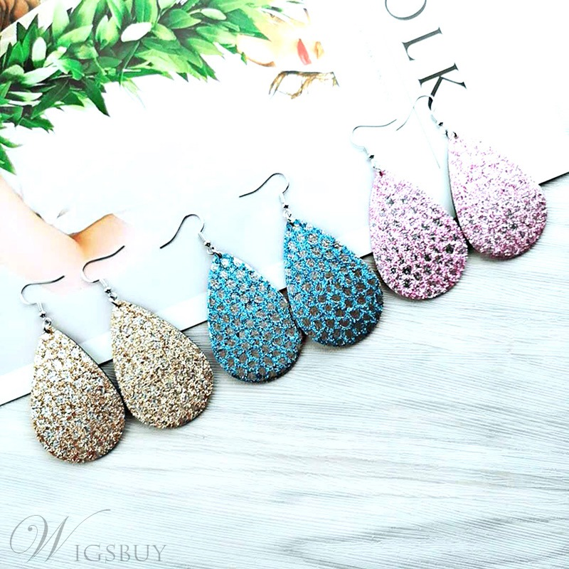 Sparkling Sequins Leather Pear Earrings