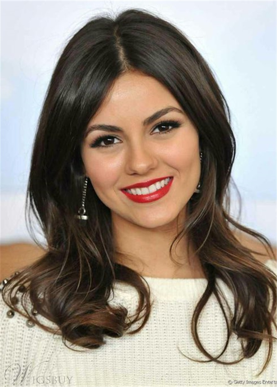 Victoria Justice Hairstyle Loose Wavy Human Hair Capless Wig