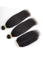 Wigsbuy Brazilian Kinky Straight 2 Bundles Weave With Lace Closure