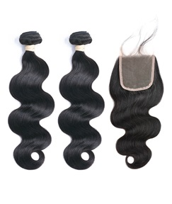 Wigsbuy Body-Wave Human-Hair Two Bundle With-One Closure