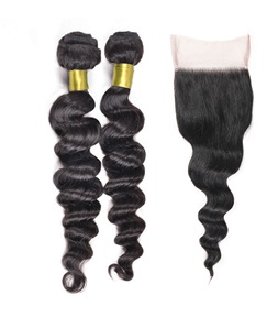 Wigsbuy Losse Wave Lace Closure With Two Bundles