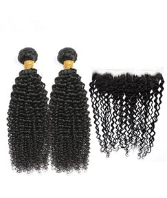 Wigsbuy Kinky Curly Human-Hair Two Bundles With Lace Frontal