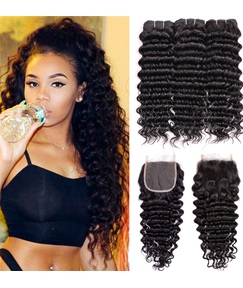 Wigsbuy Curly Human Hair Two Bundles With Closure