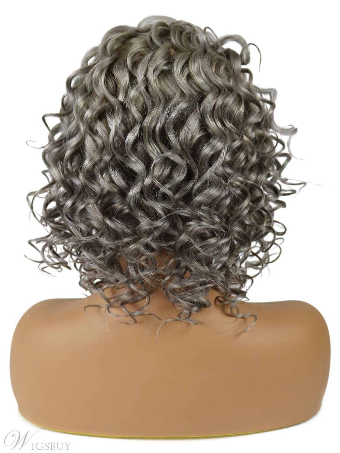 Salt and Pepper Hair Medium Length Human Hair Lace Front Curly Wigs 14 Inches