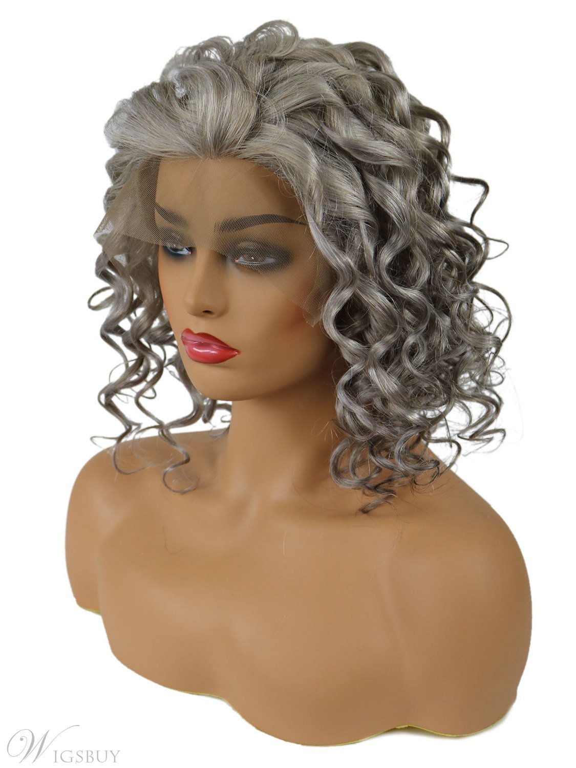 Salt and Pepper Hair Medium Length Human Hair Lace Front Curly Wigs 18 Inches