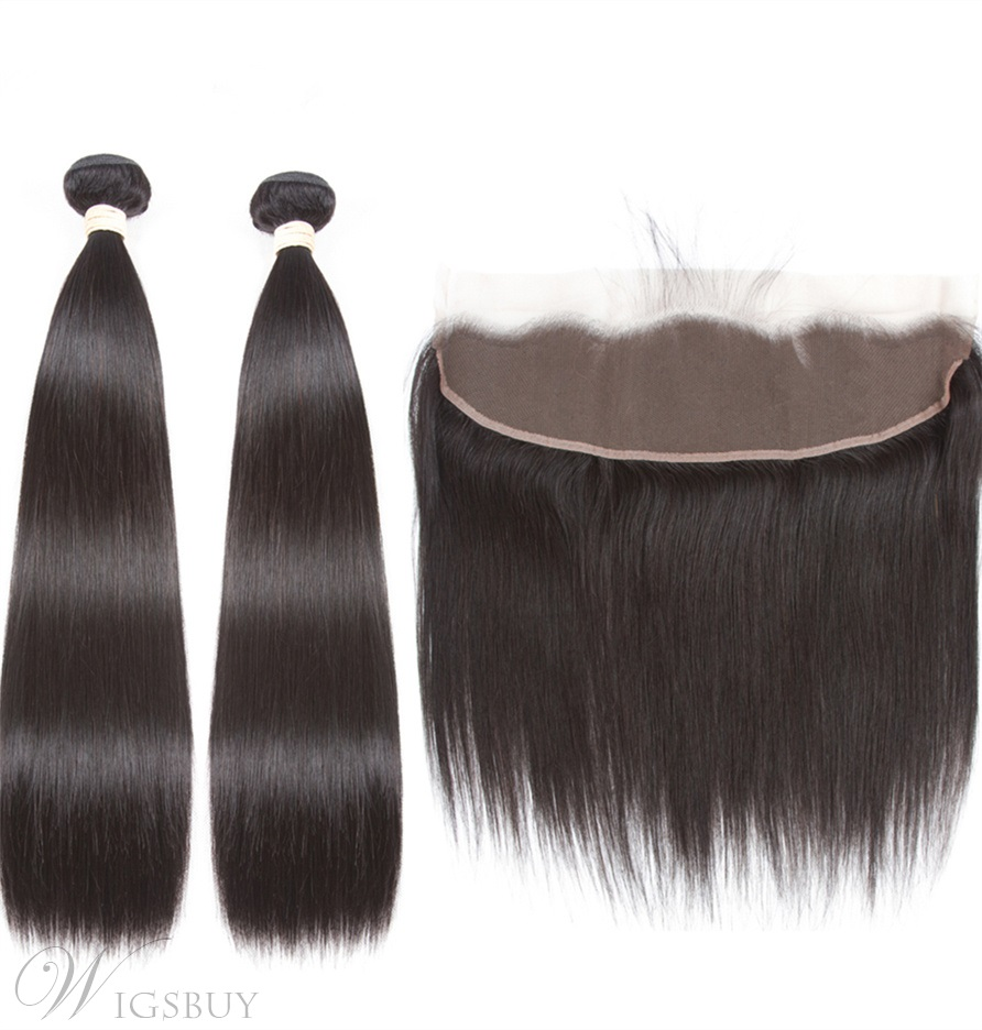 Wigsbuy Natural Straight Human Hair Weaves With Closure