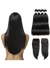 Wigsbuy Natural Straight Human Hair Bundles With Closure 4 Bundles With Closure