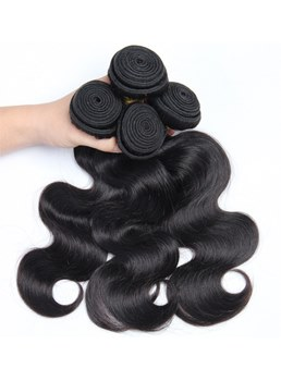 Wigsbuy Body-Wave Human Hair Weaves 4 Bundles With Closure