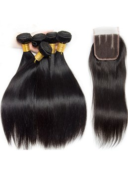 Peruvian-Straight Human Hair-Bundles With Closure 4 Bundles Deal-With Closure