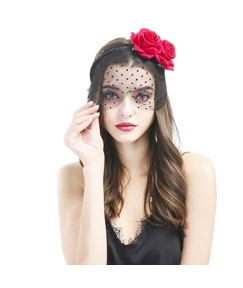 Multi Charming New Roses Small Point Lace Veil Holiday Hair Accessories