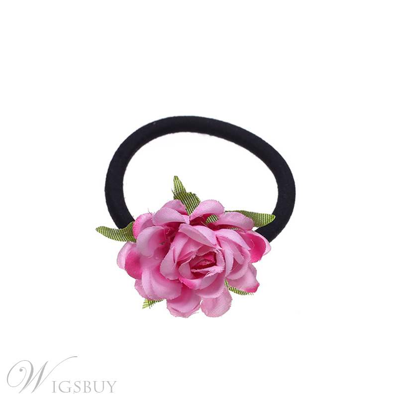 Fake Camellia Hair Cord Female Party Band