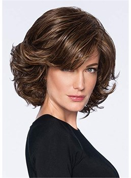 Short Bob Cut Wavy Synthetic Hair Capless Wig