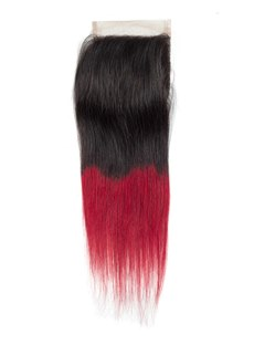 Wigsbuy Human Hair T1B/Red 4X4 Lace Closure Free Part