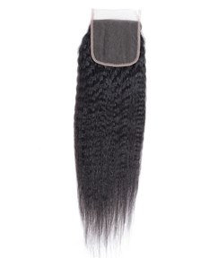 Wigsbuy Remy Human Hair Kinky Straight 4x4 Free Part Lace Closure