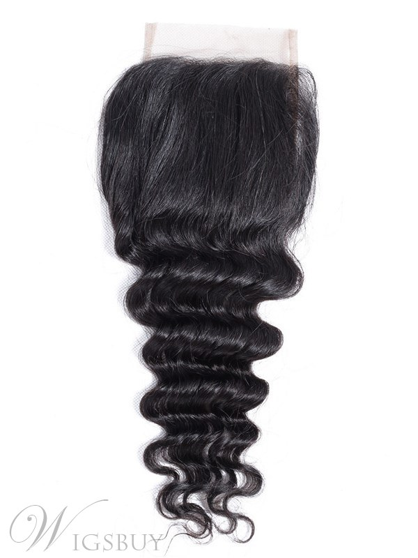 Wigsbuy Human Hair Loose Deep Wave Closure 4x4 Free Part Swiss Lace Closure